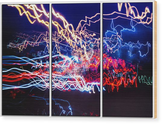 Neon Ufa Triptych Number 1 Wood Print