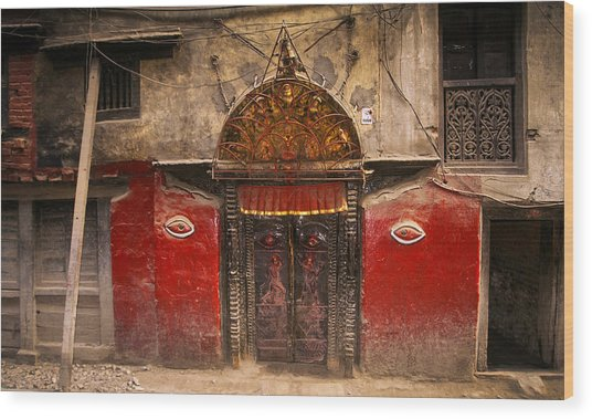 Nepalese Door Wood Print