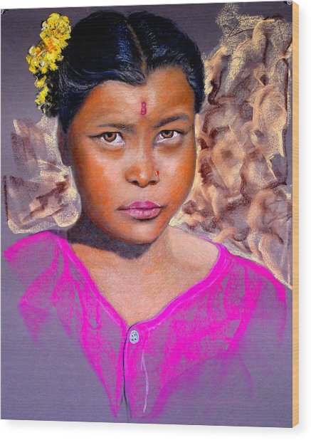 Nepalese Girl Wood Print by David  Horning