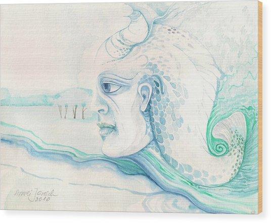 Neptune Wood Print by Amrei Al-Tobaishi-Jarosch