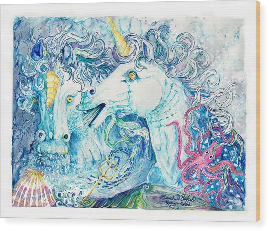 Neptune's Horses Wood Print