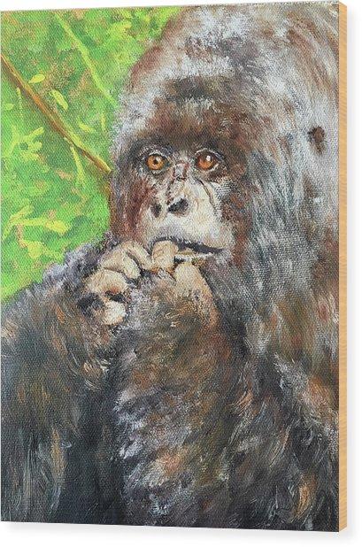 Nervous Mama Gorilla Wood Print