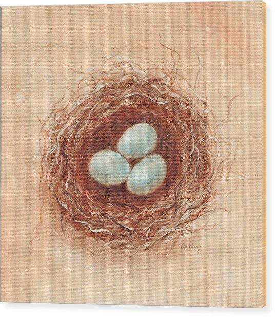 Nest In Umber Wood Print