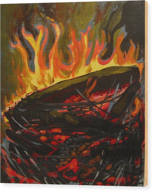 Nest On Fire Wood Print