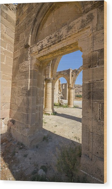 Nested Windowed View Of Church Ruins Wood Print
