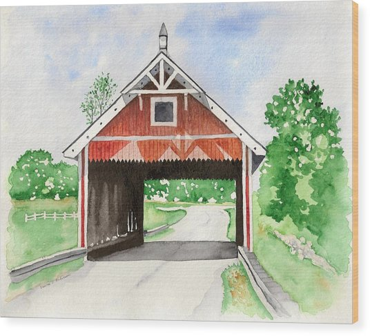Netcher Road Bridge Wood Print by Laurie Anderson
