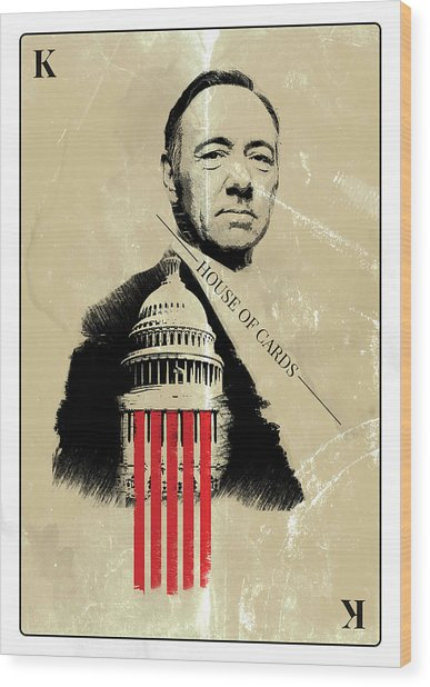 Netflix House Of Cards Frank Underwood Portrait  Wood Print