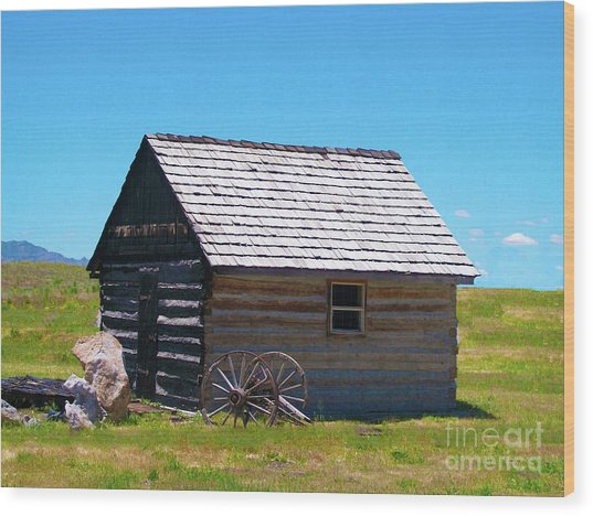 Nevada Log Cabin Wood Print