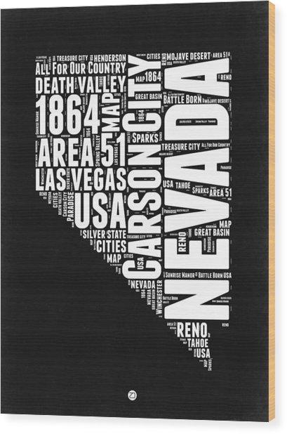 Nevada Word Cloud Black And White Map Wood Print