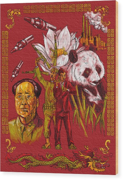 New China Wood Print by Baird Hoffmire