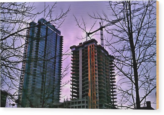 New Construction, Two Towers Wood Print