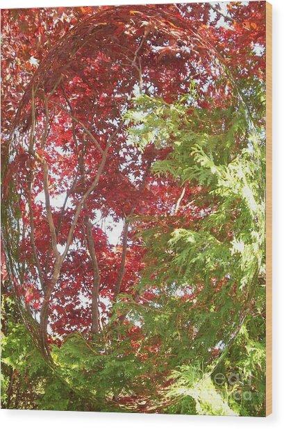 New England Autumn Globe Wood Print