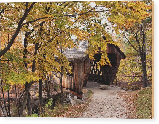 New England College No. 63 Covered Bridge  Wood Print