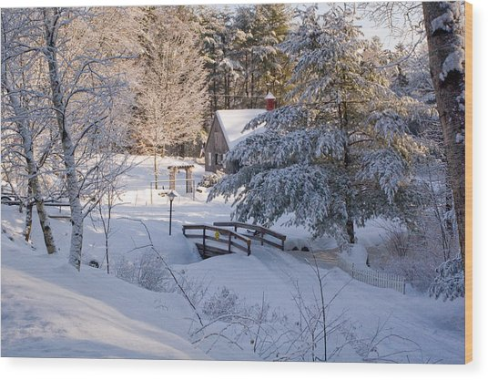 New England House And Forest In The Snow Wood Print by David Thompson