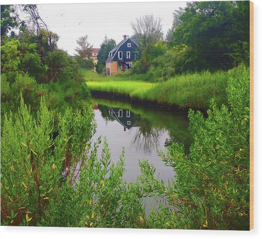 New England House And Stream Wood Print