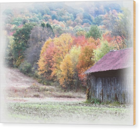 New England Tobacco Barn In Watercolor Wood Print