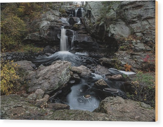 New England Waterfall In Autumn Wood Print