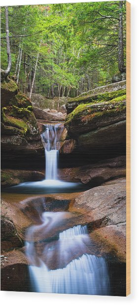 New Hampshire Sabbaday Falls And Fall Foliage Panorama Wood Print