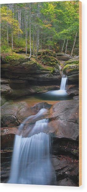 New Hampshire Sabbaday Falls Panorama Wood Print