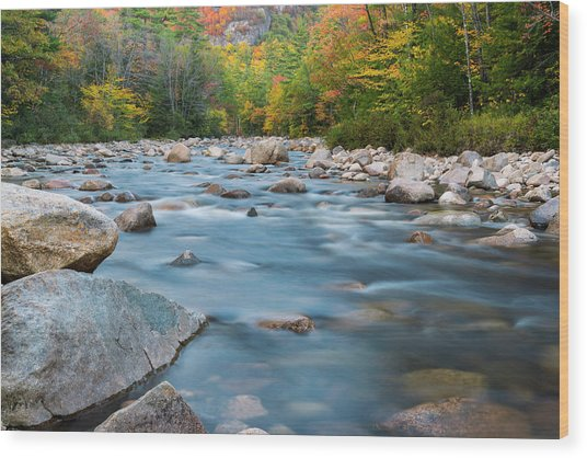 New Hampshire Swift River And Fall Foliage In Autumn Wood Print