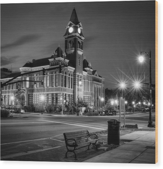 New Hanover County At Night In Black And White Wood Print