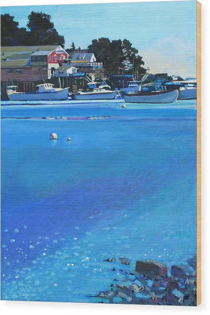 New Harbor Wood Print by Robert Bissett