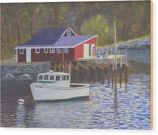 New Harbor Sunrise Wood Print