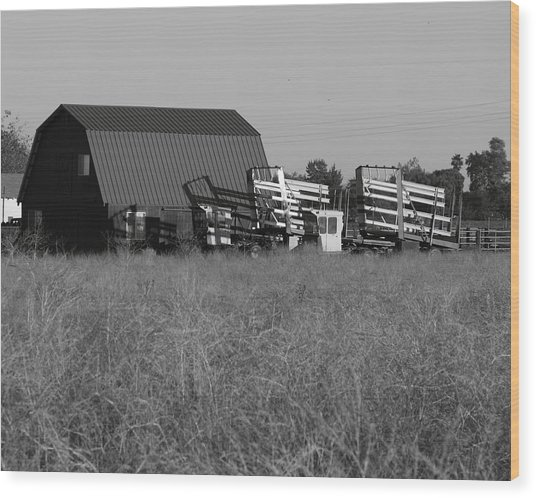 New Holland Bale Wagons Wood Print by Troy Montemayor