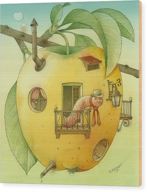 New House Wood Print by Kestutis Kasparavicius