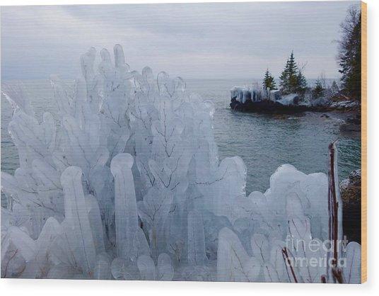 New Ice On Lake Superior Wood Print