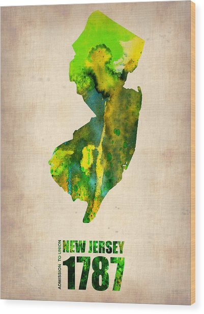 New Jersey Watercolor Map Wood Print