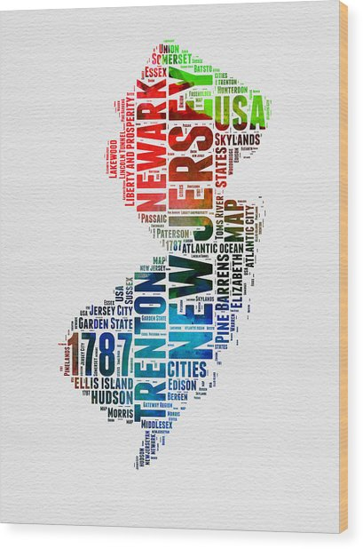New Jersey Watercolor Word Cloud  Wood Print