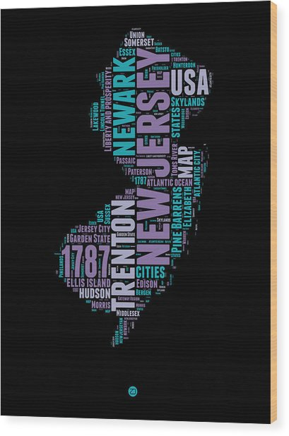 New Jersey Word Cloud 1 Wood Print
