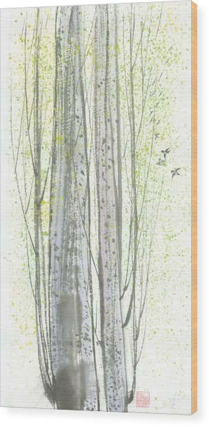 New Leaves Wood Print by Mui-Joo Wee