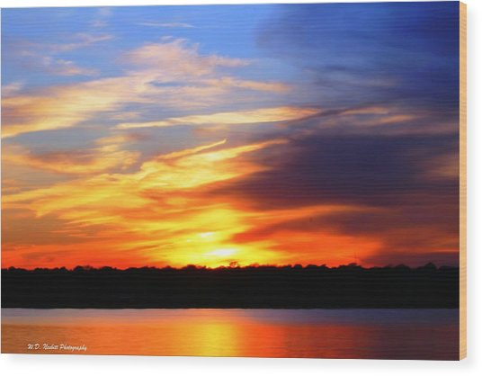 New Longview Sunset Wood Print