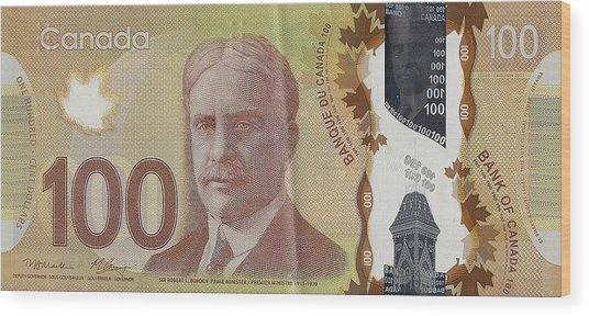 New One Hundred Canadian Dollar Bill Wood Print