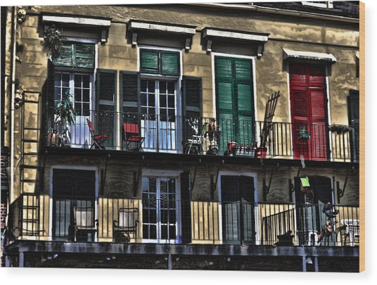 New Orleans Balcony Wood Print by Cecil Fuselier