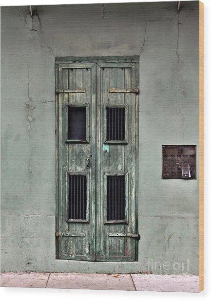 New Orleans Green Doors Wood Print