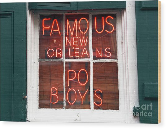 New Orleans Po Boys Wood Print