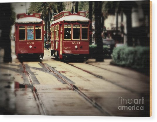 New Orleans Red Streetcars Wood Print