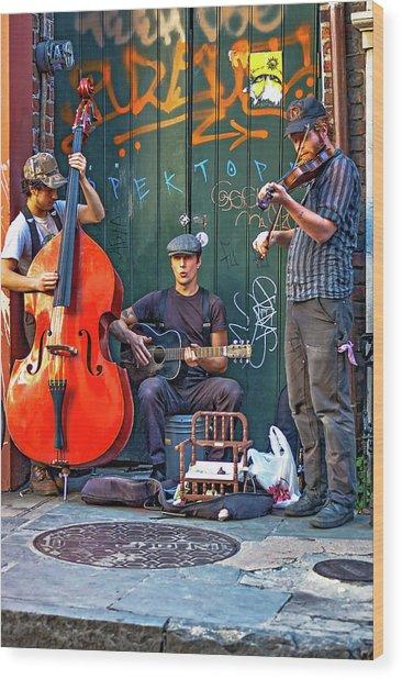 New Orleans Street Musicians Wood Print