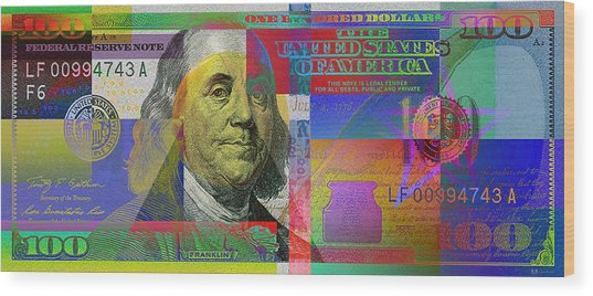 New Pop-colorized One Hundred Us Dollar Bill Wood Print