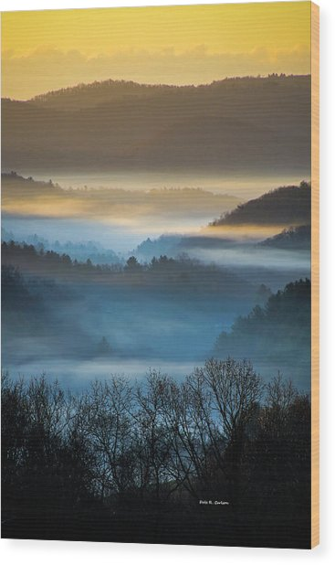 New River Fog Wood Print