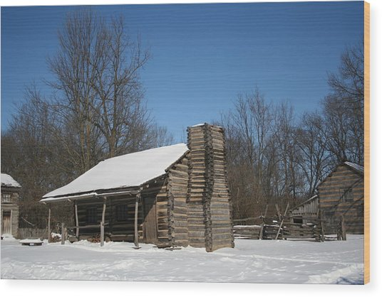 New Salem Winter Home Wood Print by Gregory Jeffries