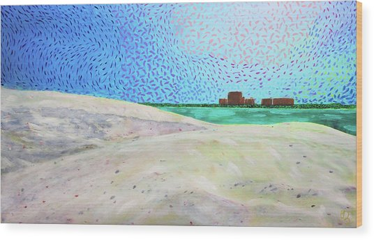 Wood Print featuring the painting New Smyrna Beach As Seen From A Dune On Ponce Inlet by Deborah Boyd
