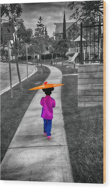 Gia Walk To Playground Wood Print