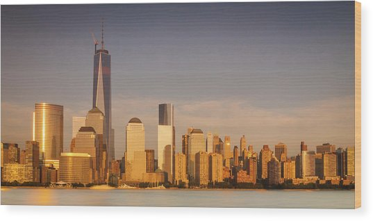 New World Trade Memorial Center And New York City Skyline Panorama Wood Print