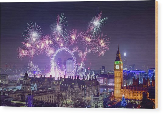 New Year Fireworks London Wood Print