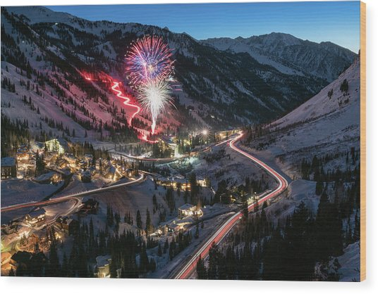 New Year's Eve At Snowbird Wood Print