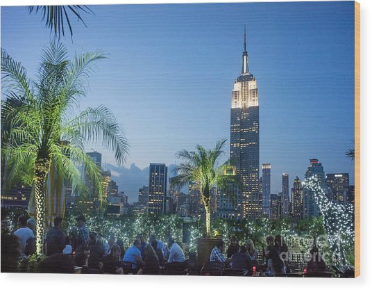 Wood Print featuring the photograph New York 230 Fith Rooftop Bar  by Juergen Held